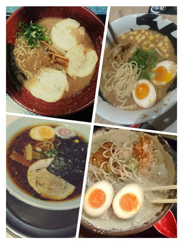 four steaming bowls of delicious ramen